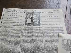 Colonial newspaper (reproduction)